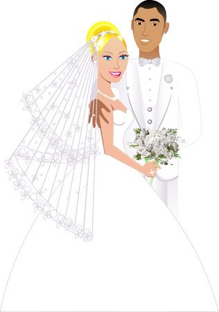 interracial: Ilustraci�n vectorial. Una hermosa novia y el novio en el d�a de su boda. Pareja 6 de la boda.