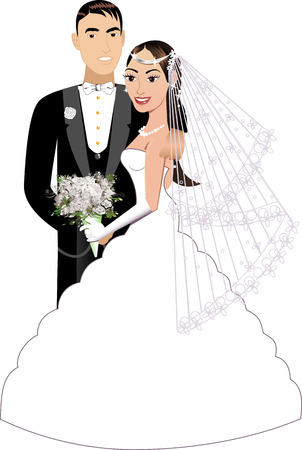 strapless: Vector Illustration. A beautiful bride and groom on their wedding day. Wedding Couple 1.