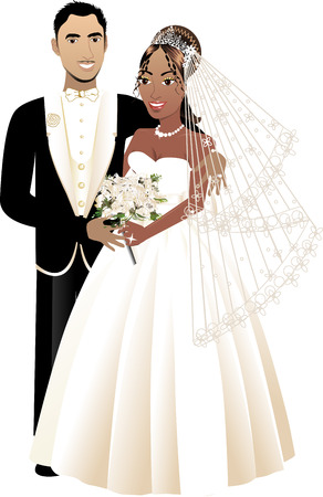 A beautiful bride and groom on their wedding day. Interacial Wedding Couple 4. Vector