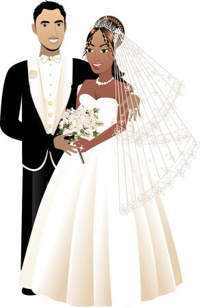 interracial: Una hermosa novia y el novio en el d�a de su boda. Pareja de boda interacial 4.