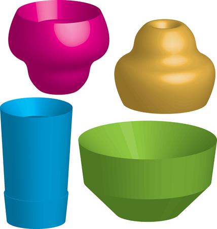 objetos de la casa: Objetos de casa Saucer abstractos.  Vectores