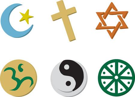 simbolos religiosos: 6 iconos religiosos en estilo 3D.