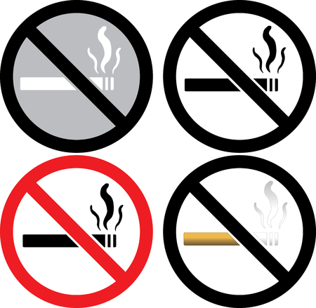 four no smoking signs.  Illustration