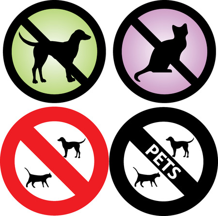 not allowed: four Pets Signs.