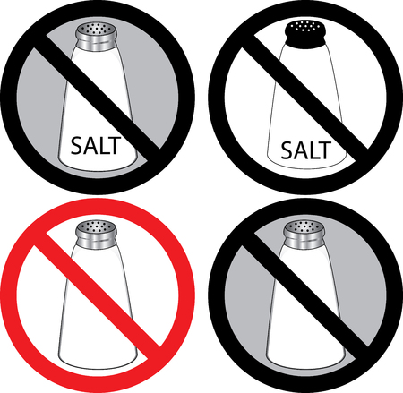 salt: four no salt signs.  Illustration