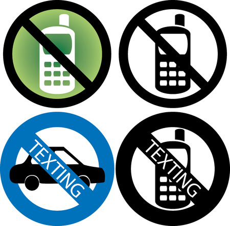 phone: four No Cell Phone or texting while driving Signs.  Illustration