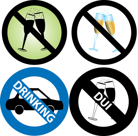 safely: four No Alcohol or drinking while driving Signs.  Illustration