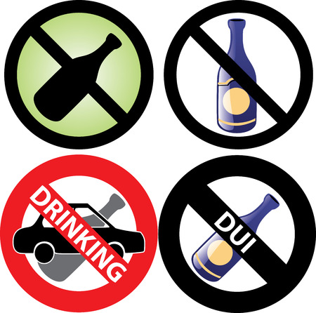 four No Alcohol or drinking while driving Signs. See my others in this series. Vector
