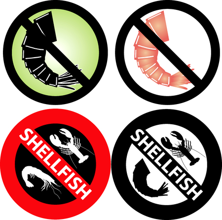 allergic reactions: four No Shellfish Signs Illustration