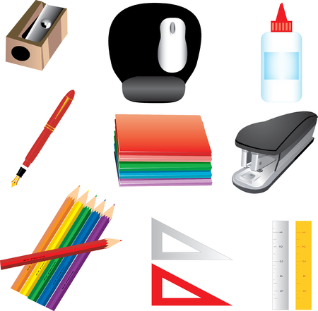 pencil sharpener: Vector Illustration of 9 School or office supplies