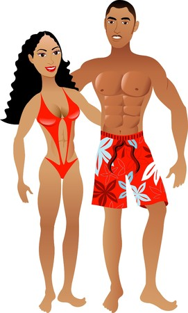 man long hair: Vector Illustration. Fit Athletic Muscular Couple 1.