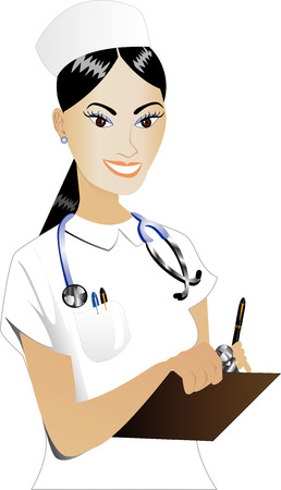 Illustration of an Asian woman Nurse Vector