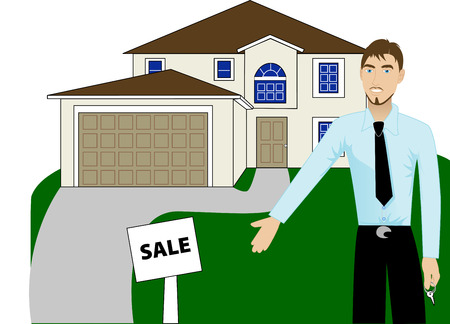 two story: Illustration. A real estate agent with keys advertising a house for sale.