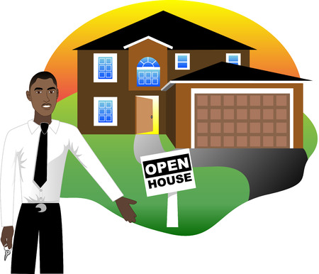 Illustration. A real estate agent with keys advertising an open house viewing.  Vector