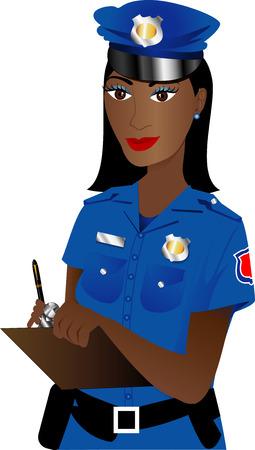 young professional: Ilustraci�n de una mujer polic�a