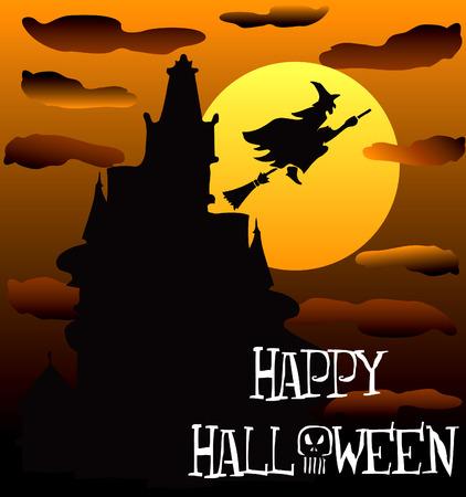 Illustration of a Happy Halloween Haunted House 2. Vettoriali