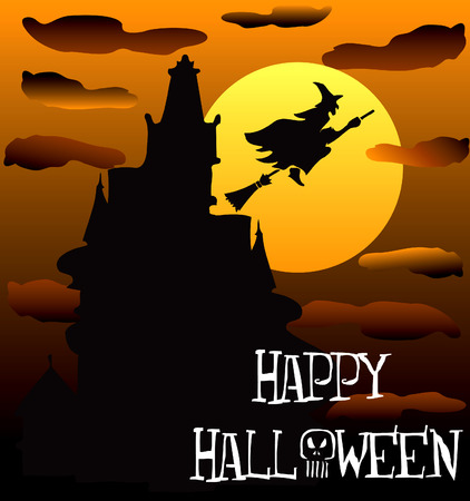 halloween party:  Illustration of a Happy Halloween Haunted House 2. Illustration