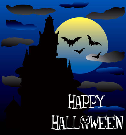 Illustration of a Happy Halloween Haunted House. Vector