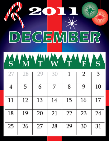 Illustration of 2011 Calendar with a monthly, I have all 12 months designed separately or all 12 months in a single design. Illustration