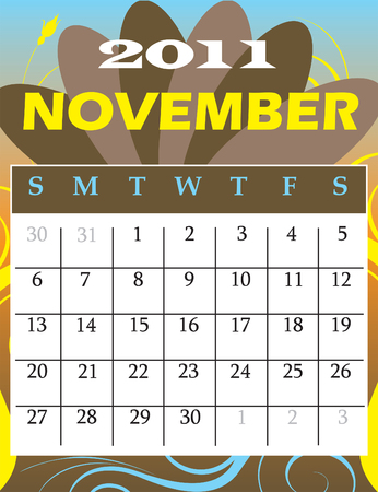 Illustration of 2011 Calendar with a monthly, I have all 12 months designed separately or all 12 months in a single design.