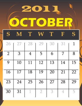 Illustration of 2011 theme monthly calendars.