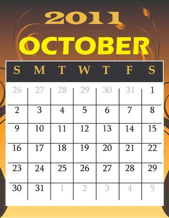 calandar:  Illustration of 2011 theme monthly calendars.