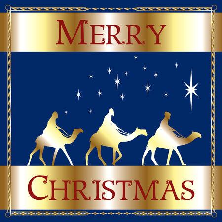 a Merry Christmas Blue Wisemen. Stock Vector - 7976833