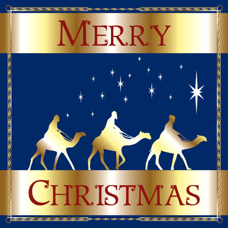 religious text: a Merry Christmas Blue Wisemen.