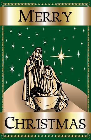 a Merry Christmas Green Nativity. Stock Vector - 7976836