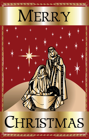a Merry Christmas Red Nativity. Stock Vector - 7976834