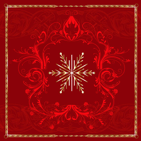 Red Square Snowflake. Stock Vector - 7976835