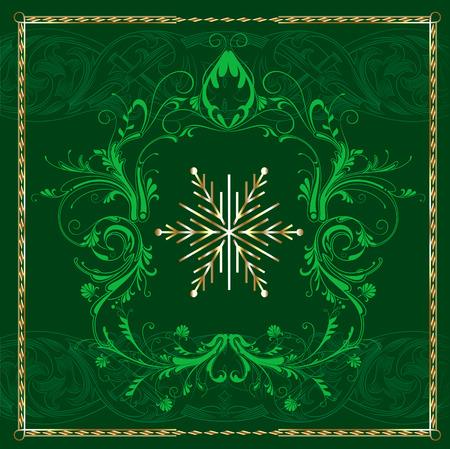 Green Square Snowflake. Stock Vector - 7976837