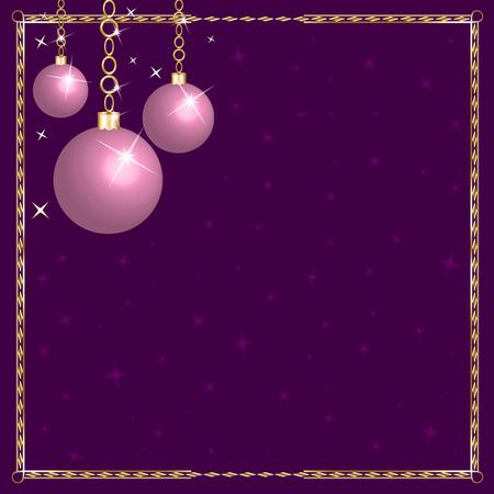 Christmas Pink Purple Ornaments. Ilustração
