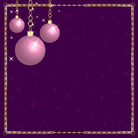 Christmas Pink Purple Ornaments. Vector
