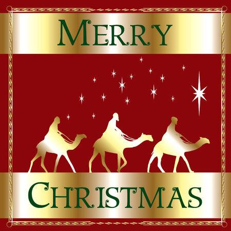 a Merry Christmas Wisemen. 向量圖像
