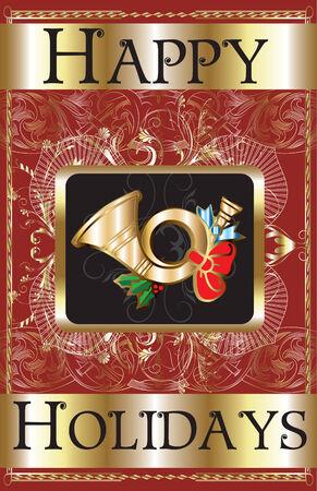 Cartel de cuerno de oro de vacaciones feliz.  Foto de archivo - 7976844