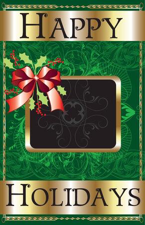 Happy Holidays Ribbon Poster. Vector