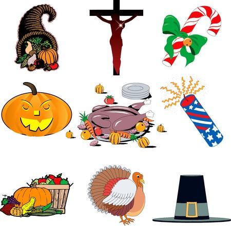 illustration of 9 holiday icons. Holiday icon set 1 Stock Illustration - 8128839