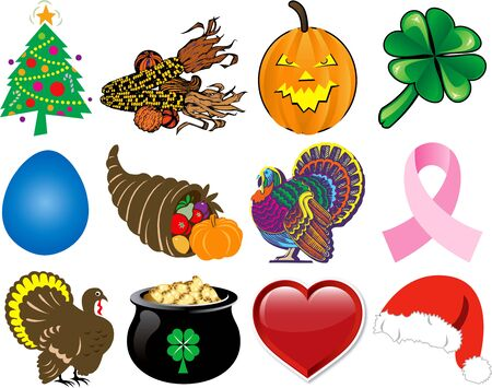 Set of 12 Holiday Icons. Stock Photo - 8128838