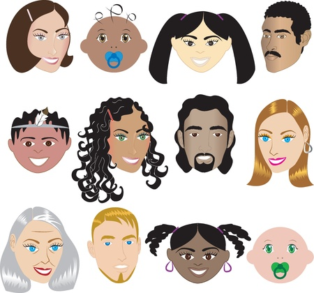 People Faces 3.Illustration set of 12 different faces of all sexes, races and ages. Also available in other sets.