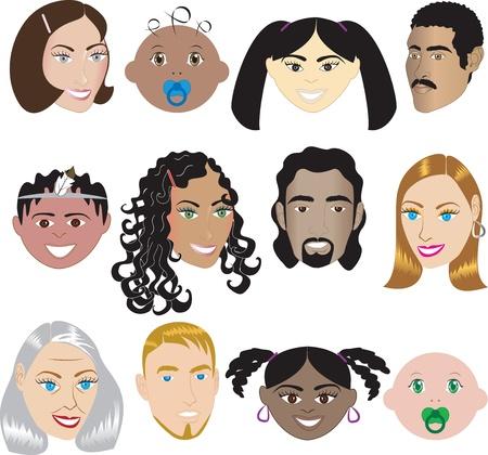 3.El de rostros de personas ilustraci�n conjunto de 12 diferentes rostros de todas las razas, sexos y edades. Tambi�n est� disponible en otros conjuntos. Foto de archivo - 8278544