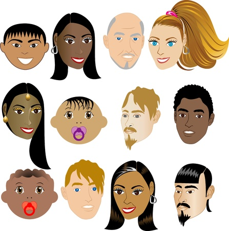 People Faces 4. Illustration set of 12 peoples on a diverse set of cultures. Also available in other sets.