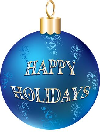 Illustration of blue gold happy holidays ornament isolated.