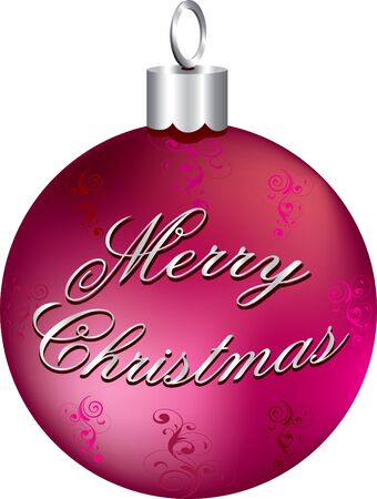 Illustration of red and silver Merry Christmas ornament isolated.