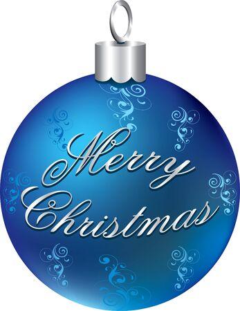 Illustratie van blauw zilver gelukkig vakantie ornament geïsoleerd.