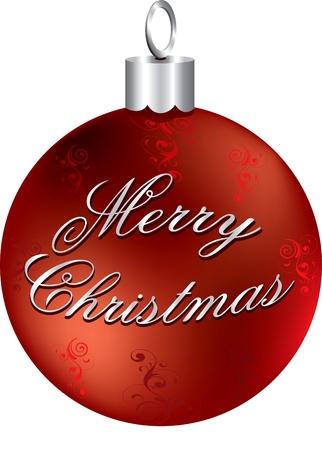 Illustratie van rode en zilveren Merry Christmas ornament geïsoleerd.
