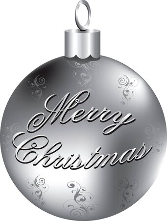 silver: Illustration of silver Merry Christmas ornament isolated.
