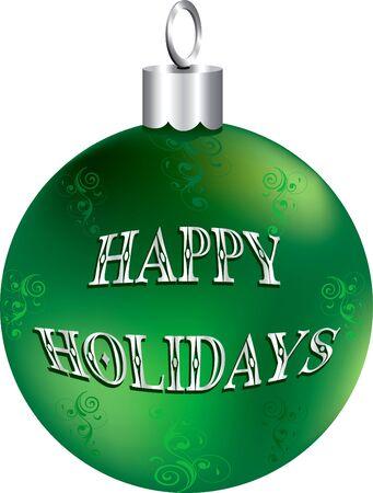 Illustratie van de groene en zilver happy holidays ornament geïsoleerd. Stockfoto