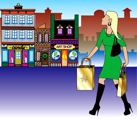 Illustration of a blond woman Christmas shopping with bags dressed fashionably. illustration