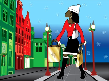 Illustration of a black woman Christmas shopping with bags dressed fashionably. illustration